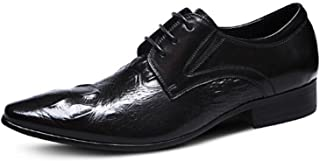 (TM Crocodile Men's Derby Shoes Lace-ups Winklepickers Pointed Toe Leather Shoes