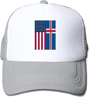 New Baseball Caps Two Tone - Iceland American Flag - Mesh Comfort Visor Dad Hats