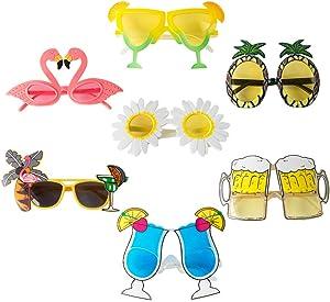 Novelty Party Sunglasses Creative Funny Hawaiian Tropical Glasses Luau Tropical Party Eyewear Hawaiian Themed Eyeglasses Beach Photo Booth Props for Adults (7 Packs)