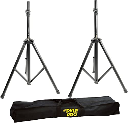 Pyle Universal Speaker Stand Tripod - Height Adjustable 8'+ ft Extra Tall Sound Equipment Mount For Speakers w/ 35mm ...