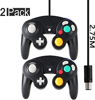 Gamecube Controller, Reiso 2 Pack 2.75M/9ft Classic Extension Wired Controllers Compatible with Nintendo Wii Game Cube NGC