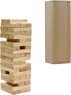 WE Games Wood Block Toppling Timbers Game - 12 inch with Wooden Box and Die - Natural Blocks