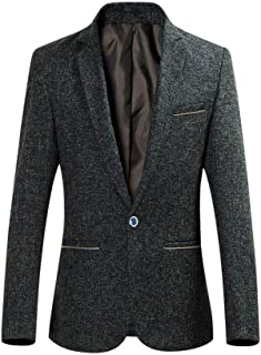 YOUTHUP Mens Wool Blazer Slim Fit Short Type Tweed Suit Jacket 1 Button Chic Outwear Jackets Yellow
