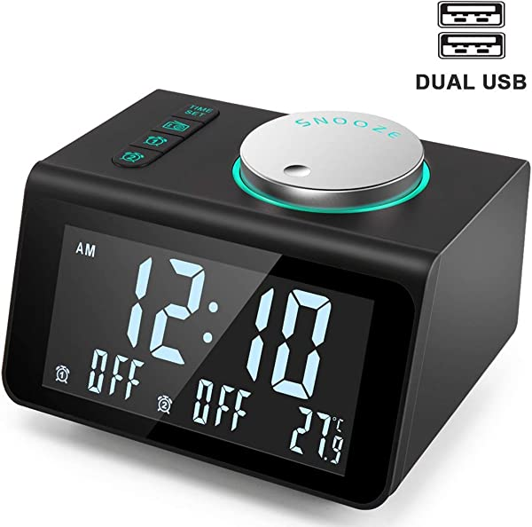ANJANK Small Alarm Clock Radio FM Radio Dual USB Charging Ports Temperature Display Dual Alarms With 7 Alarm Sounds 5 Level Brightness Dimmer Headphone Jack Bedrooms Sleep Timer Renewed