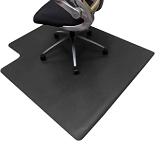 Resilia Office Desk Chair Mat with Lip – PVC Mat for Hard Floor Protection, Black, 36 Inches x 48 Inches, Made in The USA