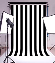 Laeacco 6X8FT Vinyl Photography Background Black and White Stripes Backdrop Party Artistic Children Adults Photo Backdrop 1.8(W) x2.5(H) M Photo Studio Prop