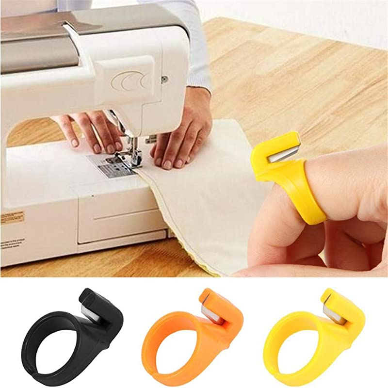 Panzisun 3pcs Sewing Thread Cutter Finger Blade Needle Craft Plastic Thimble Ring Secant Cutting Tool Sewing Machine Accessory