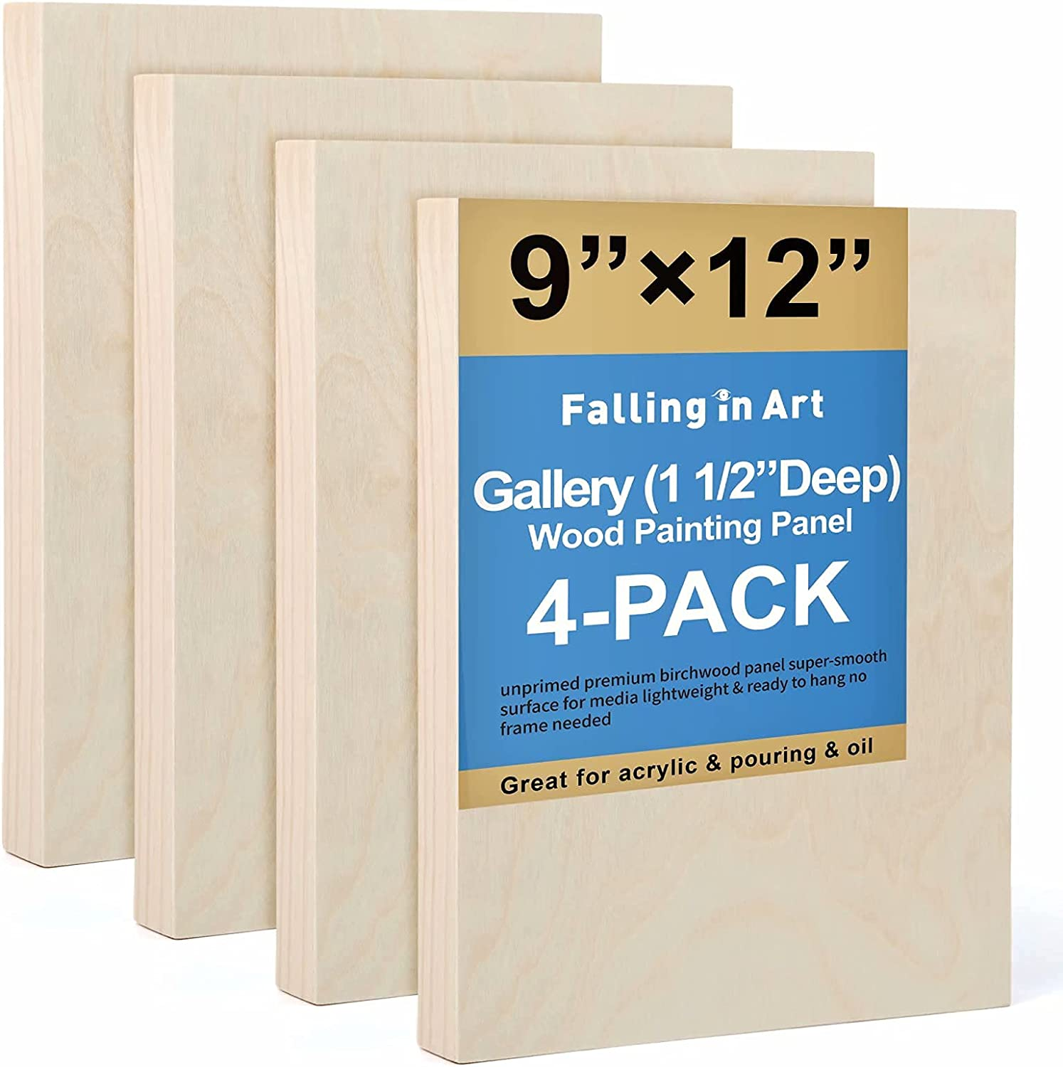 Unfinished Birch Wood Canvas Panels Kit Falling 4 40% OFF Cheap Sale in o Pack Award Art