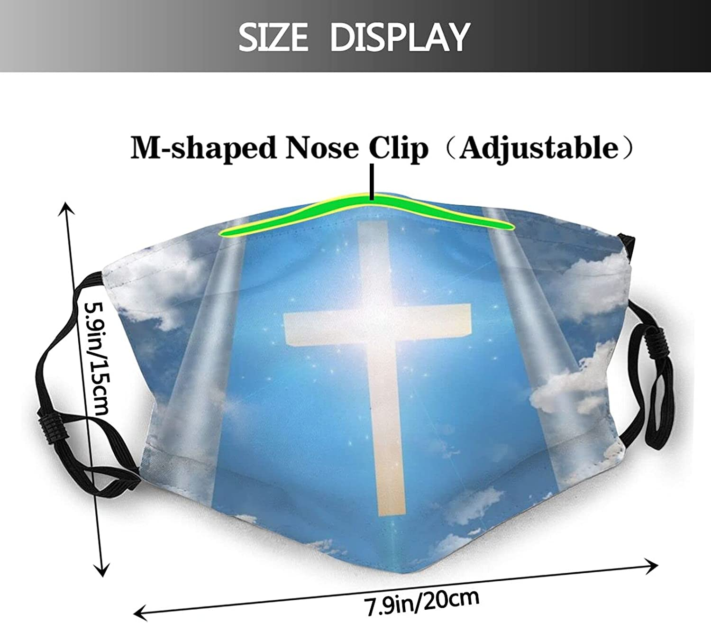 Jesus Face Mask, Beautiful Cross Mask Religion Belief Breathable Dustproof Scarf Balaclava for Women Men Youth