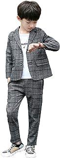 LOLANTA Completo da Ragazzo 2 Pezzi Blazer e Pantaloni per Bambini Plaid Grigio Abito, Abbigliamento per Il Tempo Libero o...
