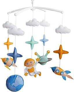 Astronaute Jouet de décoration de lit bébé Mobile musical musical pour berceau fait main en