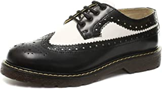 GRINDERS Bertrum Black White Men's Womens American Brogue Lace Up Leather Shoes New