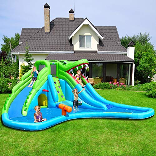 Cheapest Price! GraceShop Crocodile Inflatable Water Slide Climbing Wall Bounce House This Inflatabl...