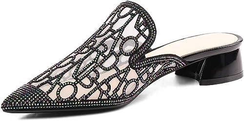 LXJL Strass de Dentelle de Mode Estivale pour Femmes en Chaussures de Travail épaisses,b,37
