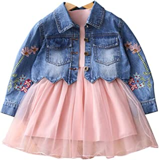 Spring Autumn Little Girls Clothing Set Child Kids Denim Jacket and Long Sleeve Dress 2 Pieces Set