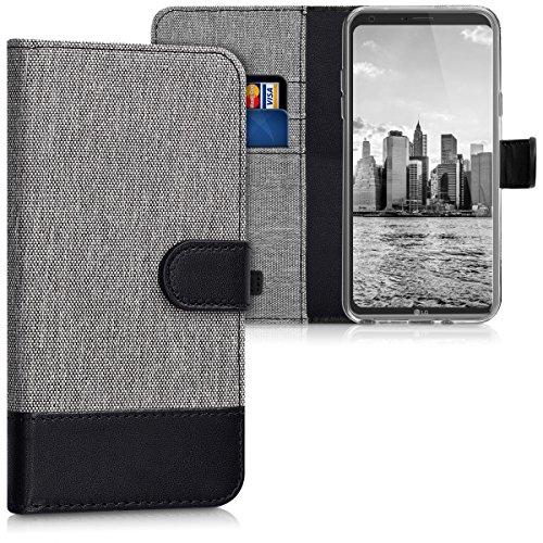 kwmobile Funda Compatible con LG Q6 / Q6+ - Carcasa de Tela y Cuero sintético Tarjetero Gris/Negro