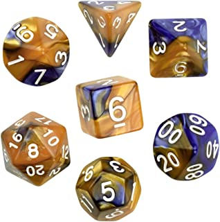 Golden Blue Gemini Glowing Polyhedral 7-Die RPG Dice Set Galaxy Dnd Dice Set D20 D12 D10 D8 D6 D4 for Dungeons and Dragons wit Pouch