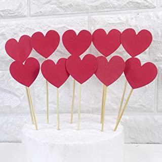 AimtoHome Glitter Heart Cupcake Toppers Red Party Cupcake Decorations for Birthday | Baby Shower | Wedding | Engagement | Valentine's Day | Christmas Party Dessert Decorations Topper, Pack of 50