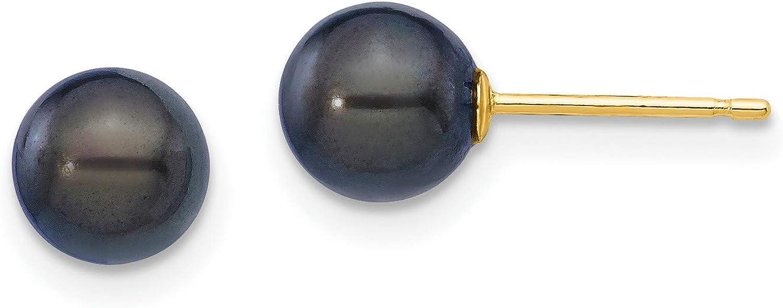Black Saltwater Akoya Pearl Stud Earrings in Real 14k Yellow Gold