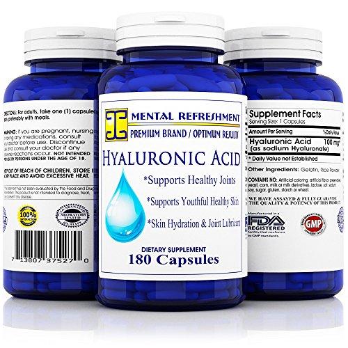 Mental Refreshment: Hyaluronic Acid - 100mg 180 capsules (1 Bottle)