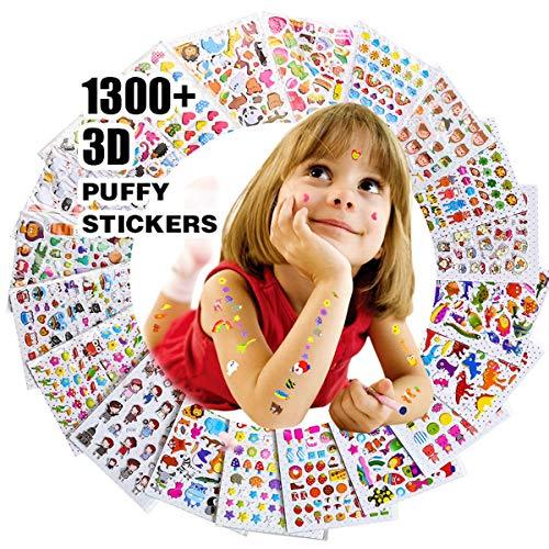 RENOOK 子供&幼児シールふわふわシールかわいい海外デザイン大量の20枚入り1300個以上3Dテッカー 手帳日記 知育 褒美用 アニメ、恐竜、雲、星、虹、植物、鳥、ネコなどお歳暮新年プレゼント