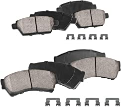 CPK11192 FRONT + REAR Performance Grade Quiet Low Dust [8] Ceramic Brake Pads + Dual Layer Rubber Shims + Hardware