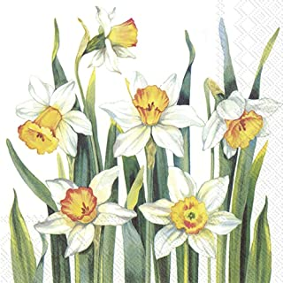 IHR 20 servetten Lunch motief: White Narcissus - Narcissen wit 33 x 33 cm