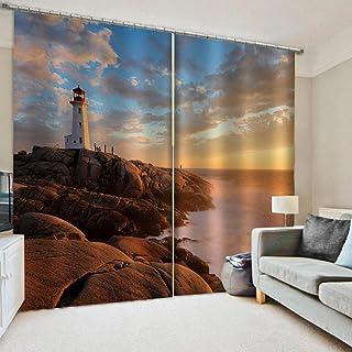 3D高品质印刷 窗帘 隔热 卧室 客厅用 防紫外线 保温 窗帘套装 悬垂窗帘 时尚 高级感的面料 客厅 节能 提高冷暖气效率-風景 140*100cm