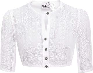 MarJo Trachten Damen Trachten-Mode Dirndlbluse Bela-Anita in Weiß traditionell
