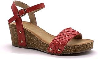 Chaussure Mode Tong Mule Style orthop/édique Senior Confortable Femme Strass Diamant Anneaux Talon compens/é 4 CM Angkorly