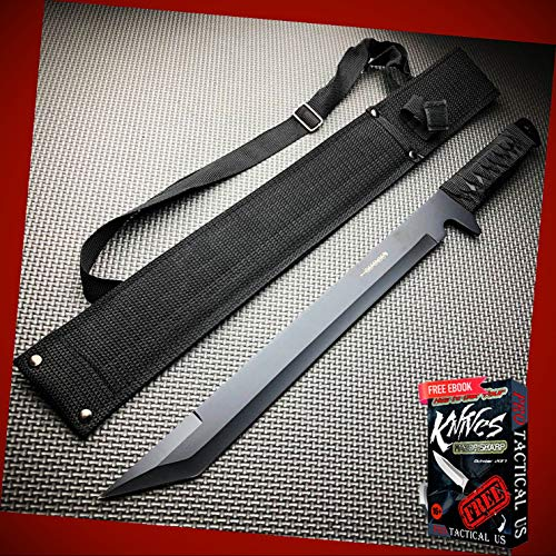 """New 18"""" inch SURVIVAL HUNTING Tactical Full Tang FIXED BLADE MACHETE ProTactical Knife Sword BA-1073kn + Free eBook by PrTac-US"""