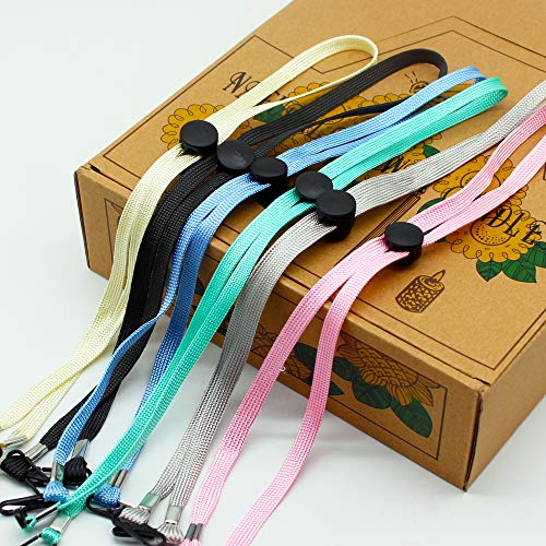 8 Pcs Colorful Adjustable Face Mask Lanyard for Kids, Mask Chain Relieve Ear Pressure, Handy Face Bandanas Chain Holder, Extension, Comfortable Around The Neck Christmas Gift