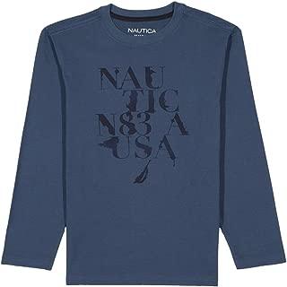 Nautica Boys' Long Sleeve Graphic T-Shirt, Medium Blue, 7