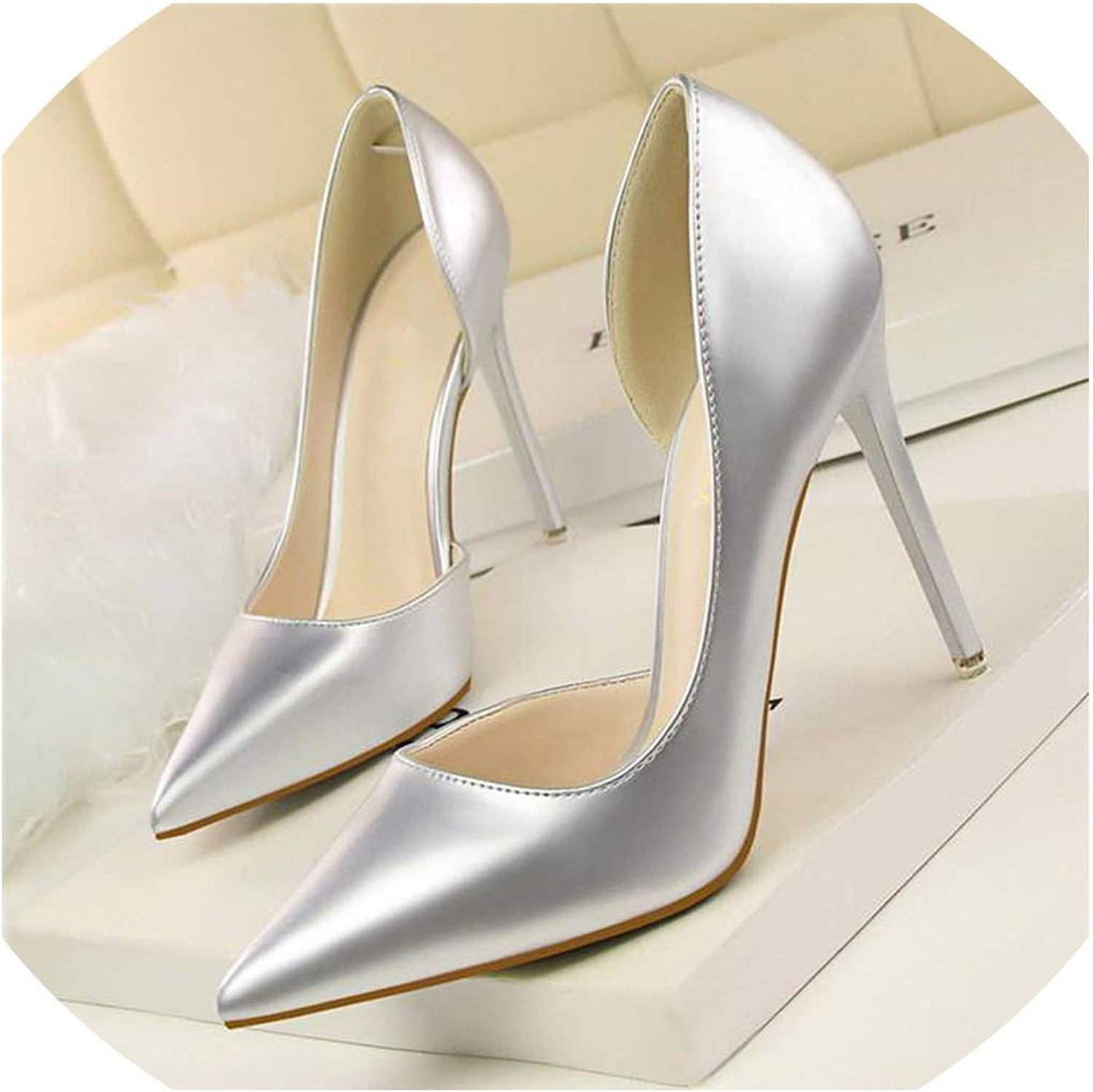 Concise Solid Patent Leather Shallow Women Pumps Sexy Cut-Outs Pointed Toe High Heels 10cm shoes
