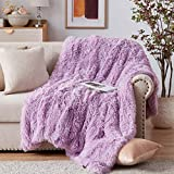 NexHome Soft Noble Purple Faux Fur Blanket Throw Blanket 50' x 60', Fluffy Cozy Luxury Sofa Couch Bed Chair Photo Props Faux Fur Decorative Blankets for All Season Use