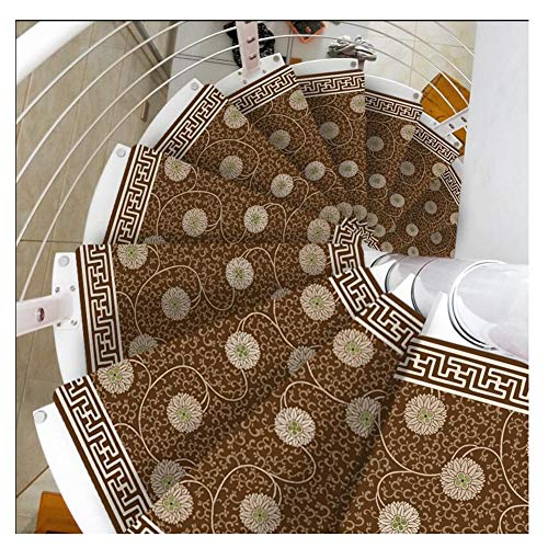 Stair Treads Carpet Non Slip Self-Adhesive Stair Treads Mats Pad Non-slip Step Protection Rug Cover Stair Carpet European Style Spiral Stair Cushion (Color : Turn right, Size : 15pcs 8033/12cm)