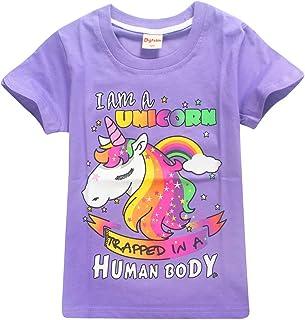 Leslady Camiseta de Manga Corta para ni/ños Unicornio Dibujos Animados Coloridos Unicornio Camiseta Transpirable para ni/ñas ni/ños