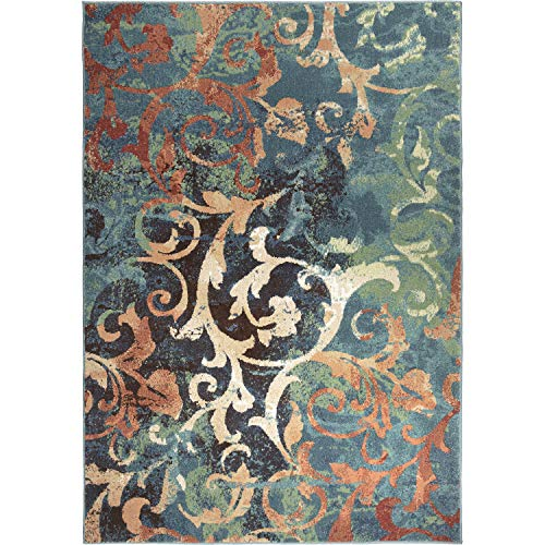 Orian Rugs WATERCOLOR SCROLL MULTI 108'X156', 9' x 13', Multicolor