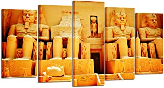 Kreative Arts - 5 Pieces HD Printed Canvas Art Painting Ancient Egyptian Statue Building Wall Pictures for Living Room Home Decor (Large Size 60x32inch)