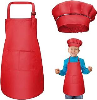 WEONE Niños Delantal y Gorro de Cocinero, Ajustable Delantal Infantil con 2 Bolsillos para Niños Niñas, Niñito Delantales ...