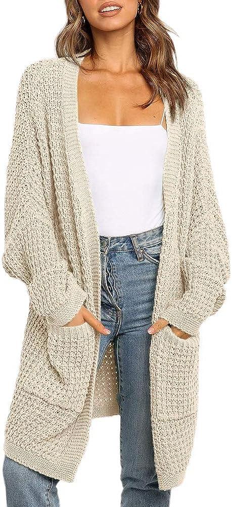 imesrun Womens Batwing Sleeve Long Cardigan Chunky Knit Open Front Oversized Sweater Outwear with Pocket