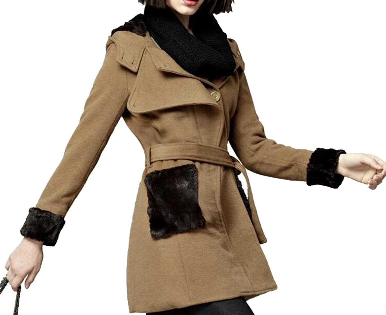 Cromoncent Womens Fleece Lined Warm Slim Fit Belted Wool Blend Jacekt Pea Coat