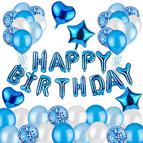 DEZEHUI Geburtstagsdeko Happy Birthday Girlande Ballons Blau 60 Stück Partyzubehörsets, Geburtstag Dekoration Set mit Luftballons für Mädchen und Jungen Geburtstag, Party