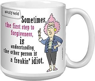 Tree-Free Greetings Extra Large 20-Ounce Ceramic Coffee Mug, Aunty Acid Forgiveness