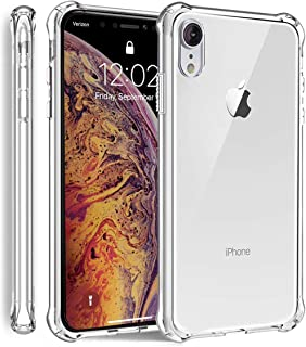 iPhone XR Shockproof Case with 4 Reinforced Corner Cushions Clear Soft TPU Silicone Shock Absorption Bumper Cover (Clear)