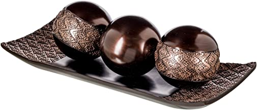 Dublin Home Decor Tray and Orbs Balls Set of 3 – Coffee Table Mantle Decor..