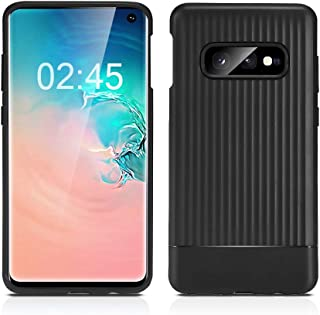 ROYBENS Galaxy S10E Case, Slim [Matte Black] Silicone Shockproof Back Cover with Cute Geometric Wave Design, Thin Soft Rubber TPU Armor Heavy Duty Protective Case for Samsung Galaxy S10E 5.8 Inch 2019