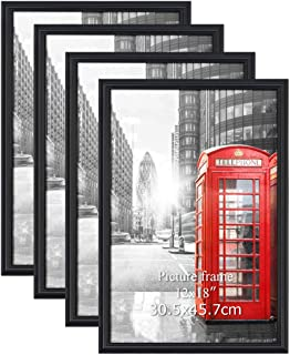 Calenzana 4 Pack 12x18 Poster Picture Frames Black Photo Frame 12 x 18 Set for Wall Hanging