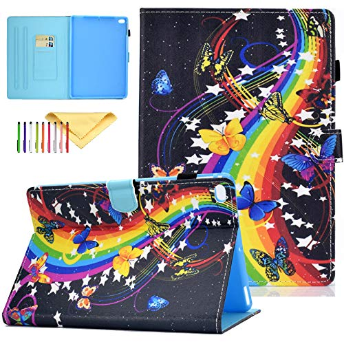 Uliking Tablet Case for Apple iPad 9.7 inch 2018 2017 Air 2 Air PU Leather Folio Cute Pattern Case with Card Slots & Auto Sleep Wake Protective Cover for iPad 6th/5th Gen Tablet, Rainbow Music