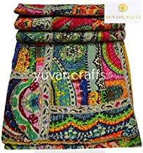 Yuvancrafts Patchwork Cotton Kantha Quilt - Indian Traditional Handmade Bedding Vintage Multi Color Quilt Blanket (Twin (6...